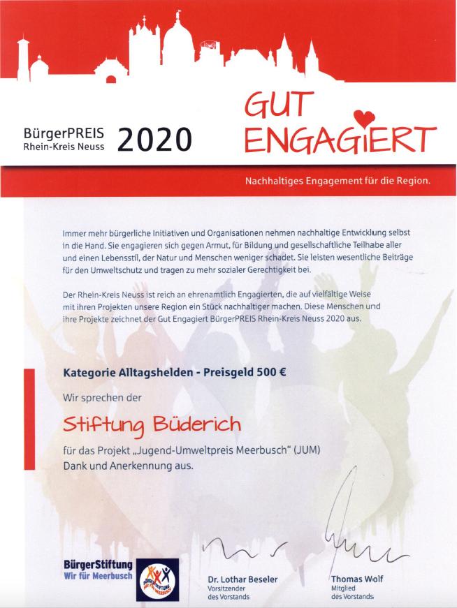 Urkunde BürgerPREIS